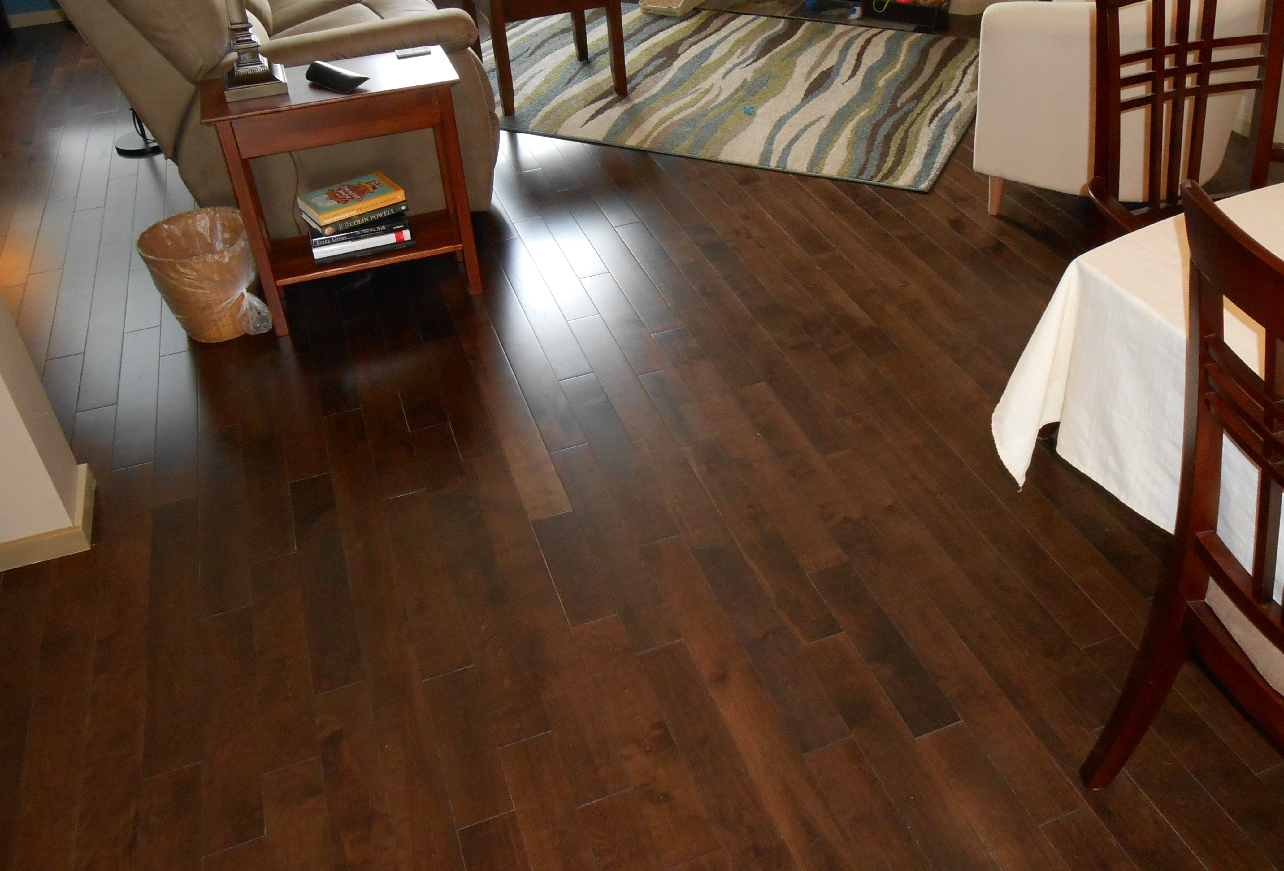 pre-finished hardwood floor in living and dining rooms