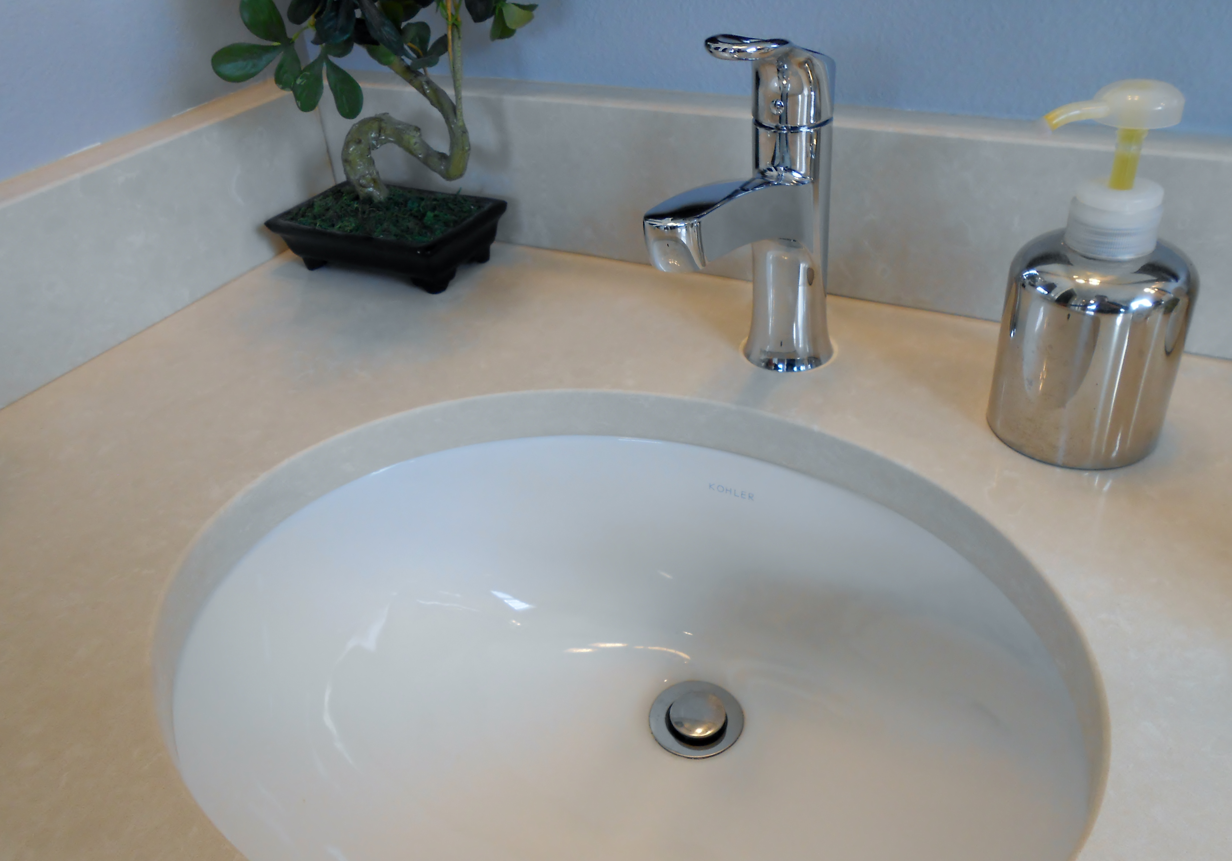 chrome plumbing fixture and undermount sink