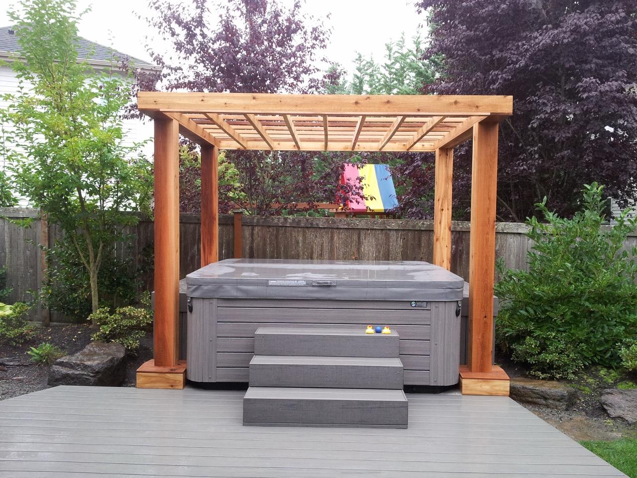 Composite Deck With Cedar Pergola Done To Spec