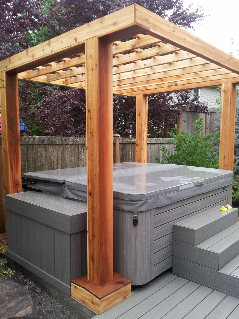 hot tub - Composite Deck With Cedar Pergola Done To Spec